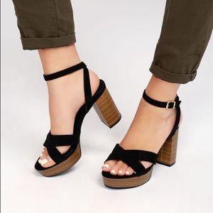 NWOT Black Platform Vegan Suede Sandals